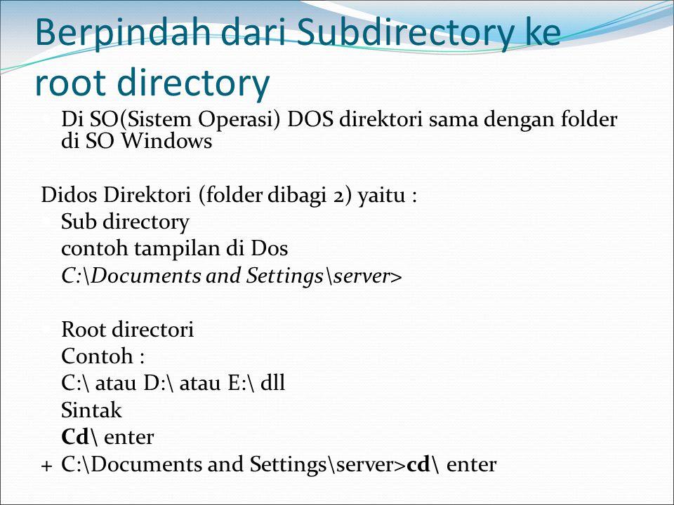 Berpindah dari Subdirectory ke root directory