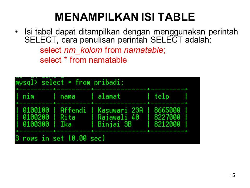 MENAMPILKAN ISI TABLE Isi tabel dapat ditampilkan dengan menggunakan perintah SELECT, cara penulisan perintah SELECT adalah: