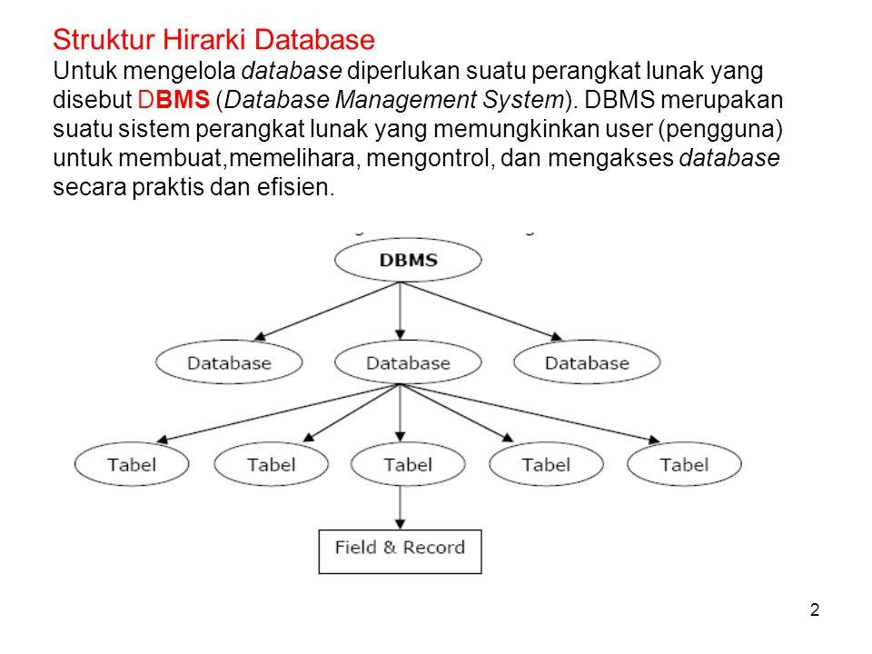 Struktur Hirarki Database Untuk mengelola database diperlukan suatu perangkat lunak yang disebut DBMS (Database Management System).