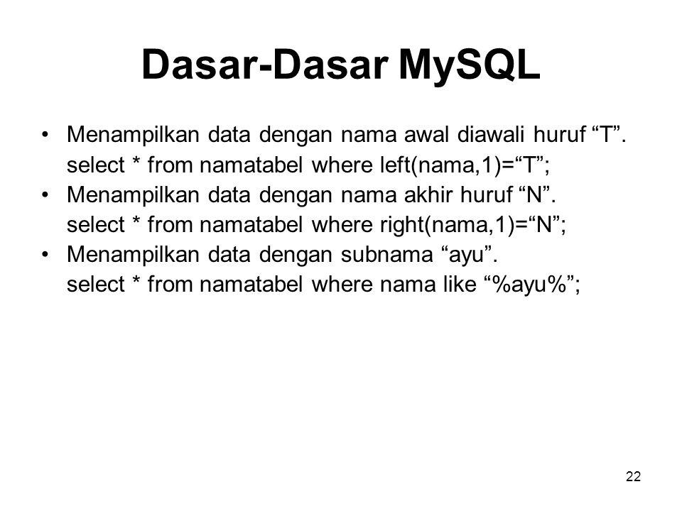 Dasar-Dasar MySQL Menampilkan data dengan nama awal diawali huruf T .