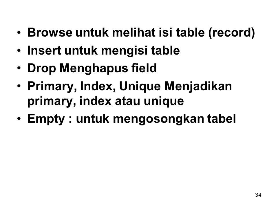Browse untuk melihat isi table (record)