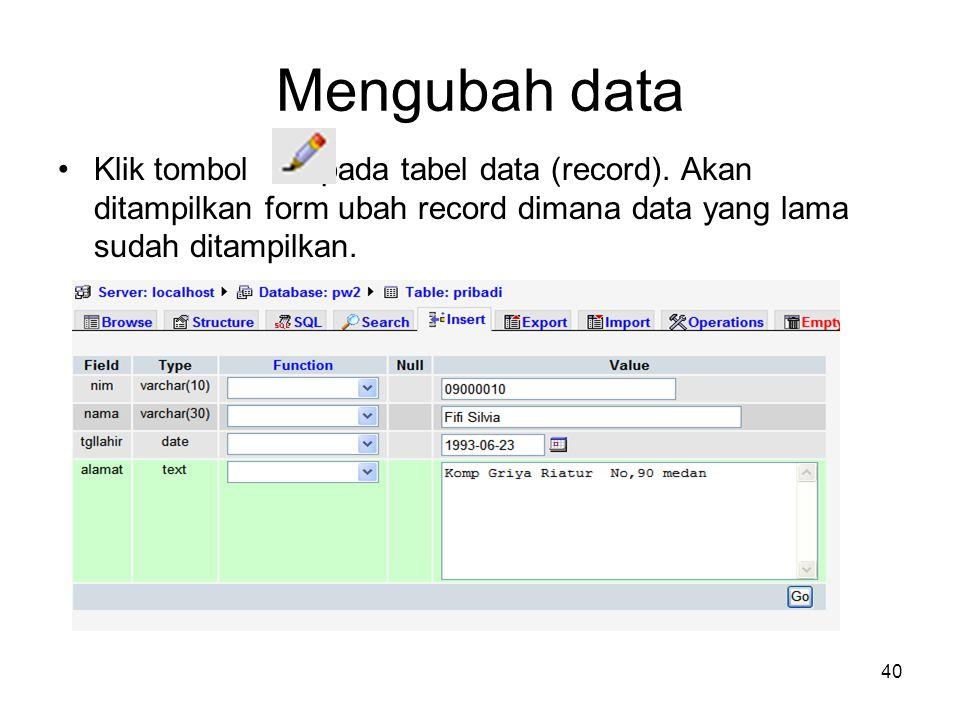 Mengubah data Klik tombol pada tabel data (record).