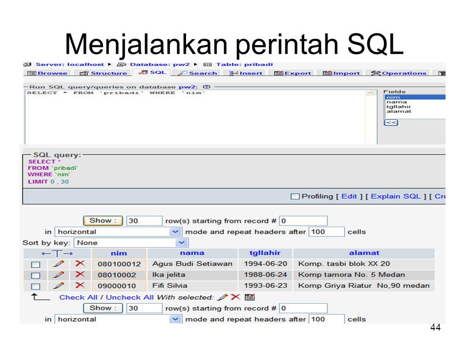 Menjalankan perintah SQL