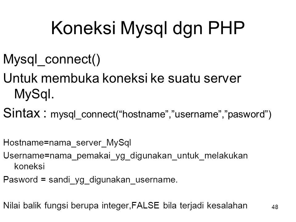 Koneksi Mysql dgn PHP Mysql_connect()