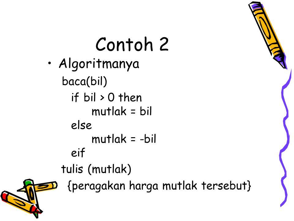 Contoh 2 Algoritmanya baca(bil)