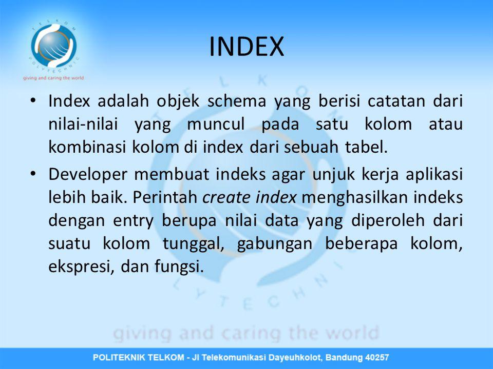 INDEX Index adalah objek schema yang berisi catatan dari nilai-nilai yang muncul pada satu kolom atau kombinasi kolom di index dari sebuah tabel.