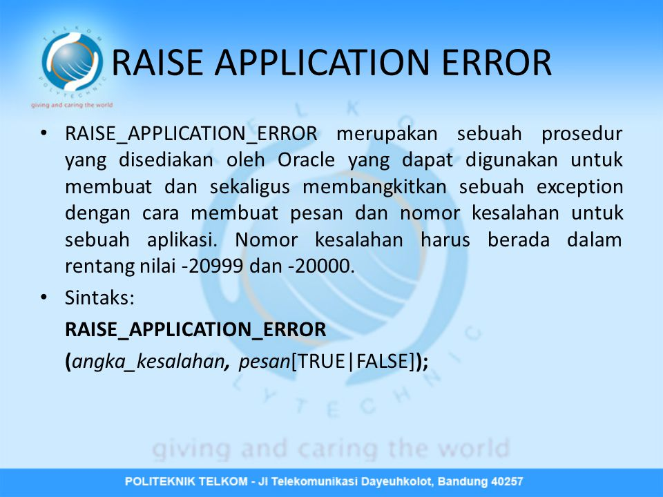 RAISE APPLICATION ERROR