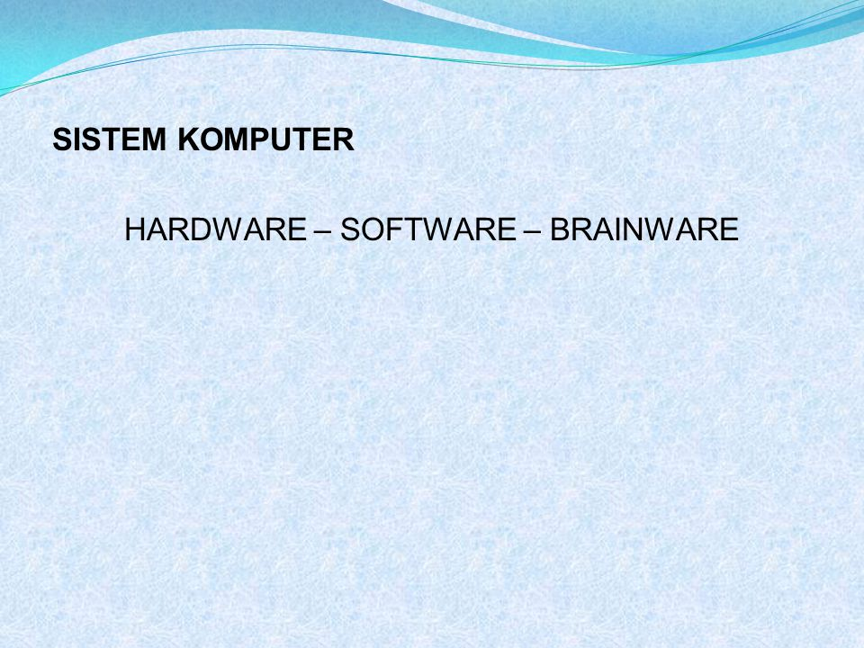 HARDWARE – SOFTWARE – BRAINWARE