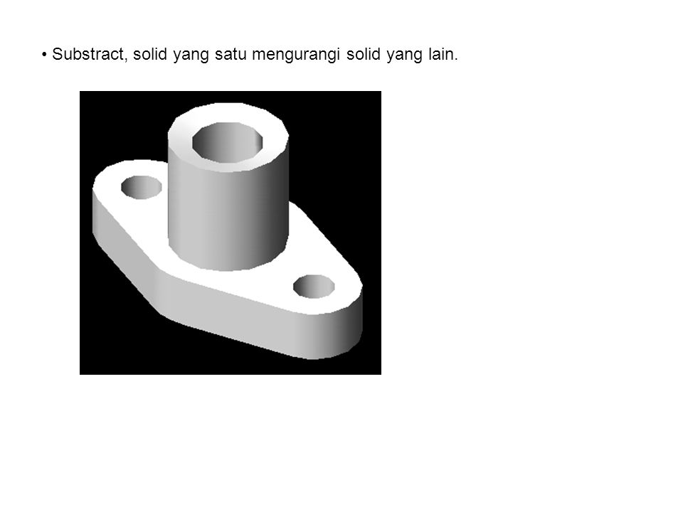 Substract, solid yang satu mengurangi solid yang lain.