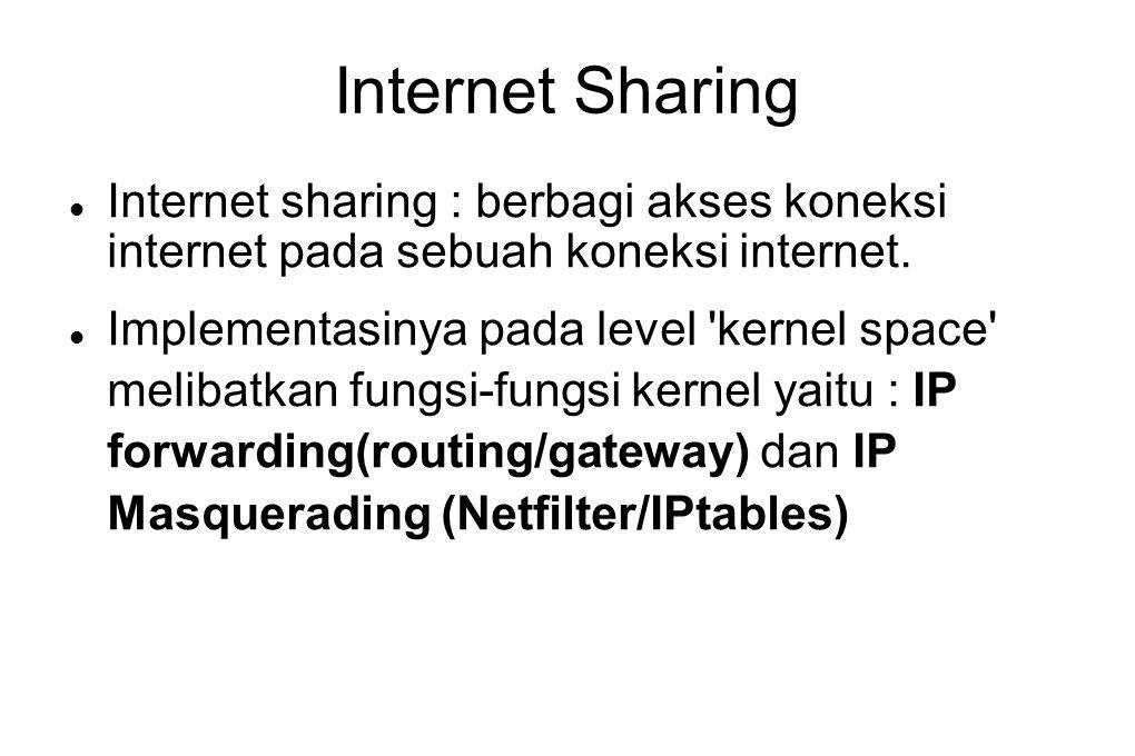 Internet Sharing Internet sharing : berbagi akses koneksi internet pada sebuah koneksi internet.