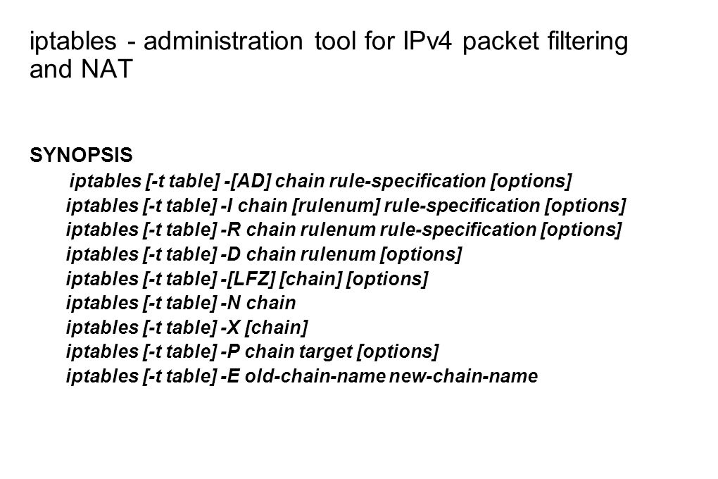 iptables - administration tool for IPv4 packet filtering and NAT
