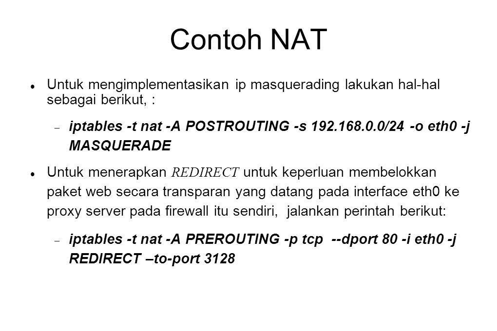 Contoh NAT Untuk mengimplementasikan ip masquerading lakukan hal-hal sebagai berikut, :