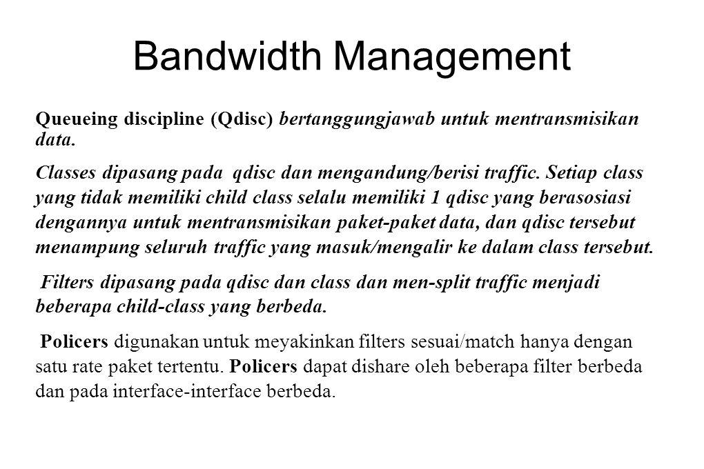 Bandwidth Management Queueing discipline (Qdisc) bertanggungjawab untuk mentransmisikan data.
