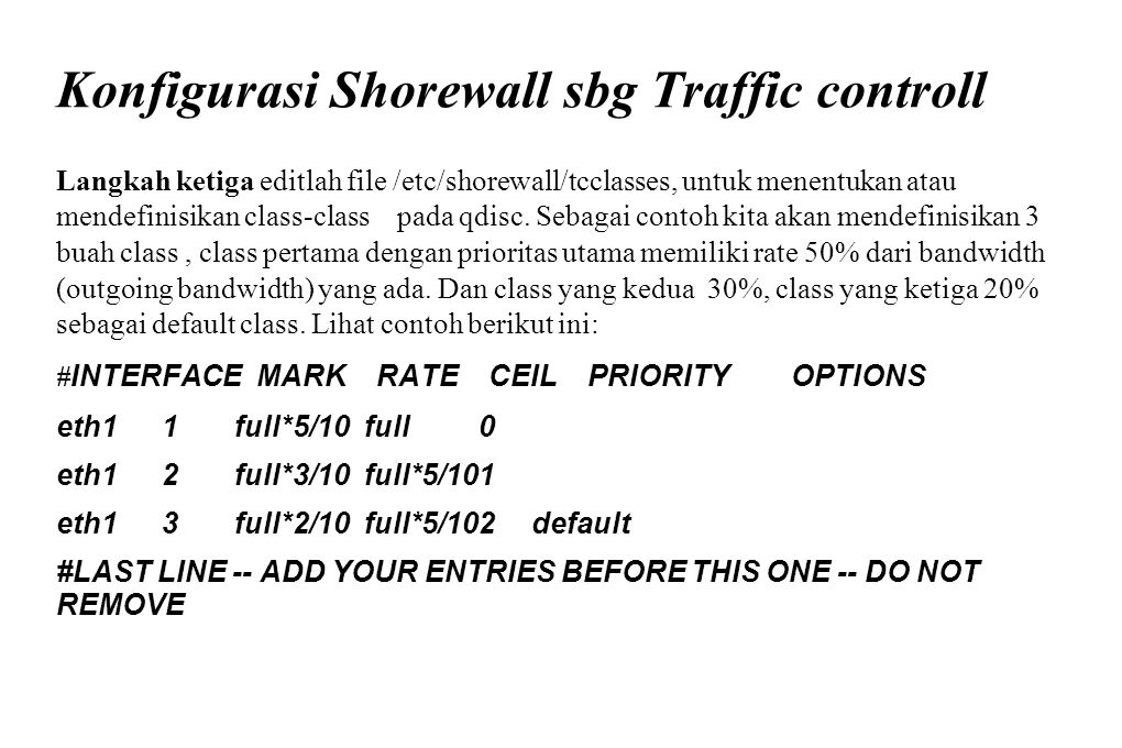 Konfigurasi Shorewall sbg Traffic controll