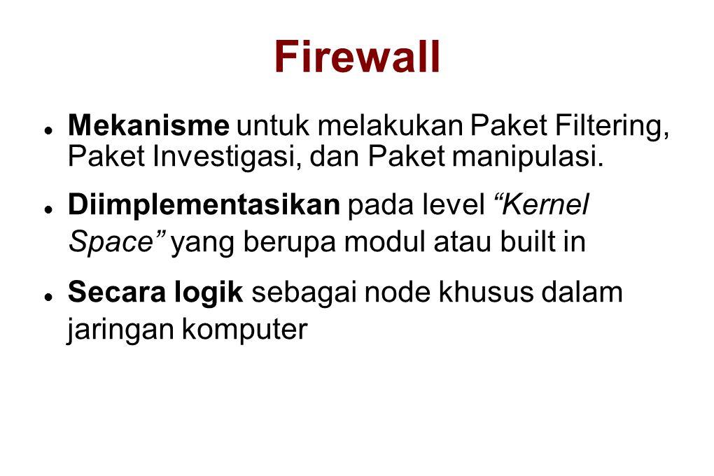 Firewall Mekanisme untuk melakukan Paket Filtering, Paket Investigasi, dan Paket manipulasi.