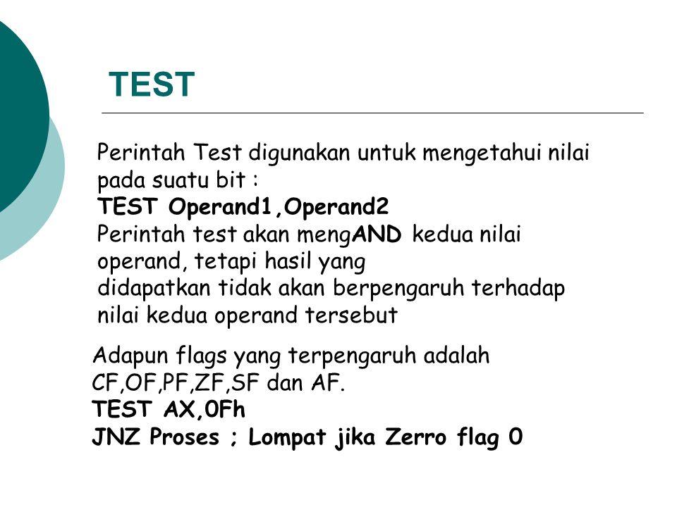 TEST Perintah Test digunakan untuk mengetahui nilai pada suatu bit :