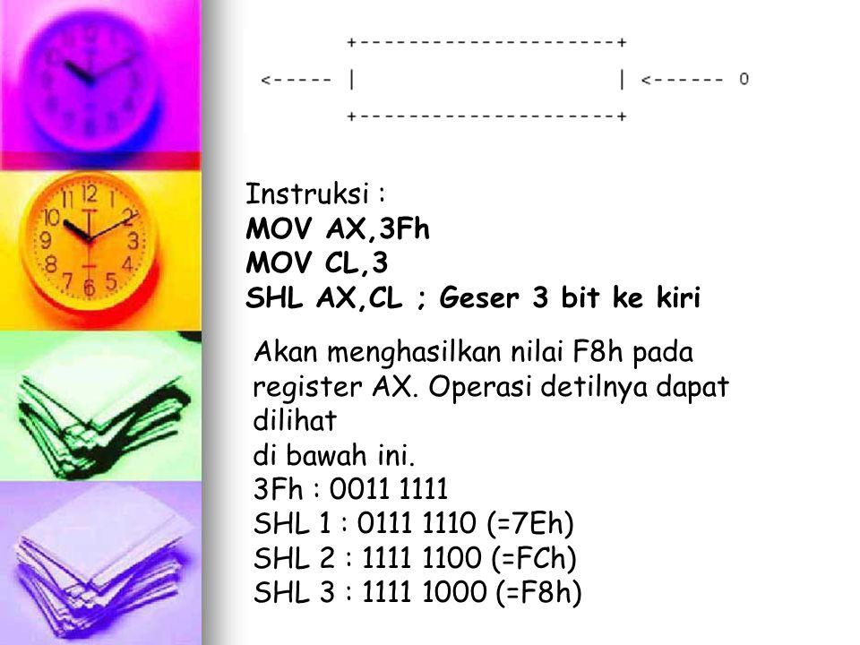 Instruksi : MOV AX,3Fh. MOV CL,3. SHL AX,CL ; Geser 3 bit ke kiri. Akan menghasilkan nilai F8h pada register AX. Operasi detilnya dapat dilihat.