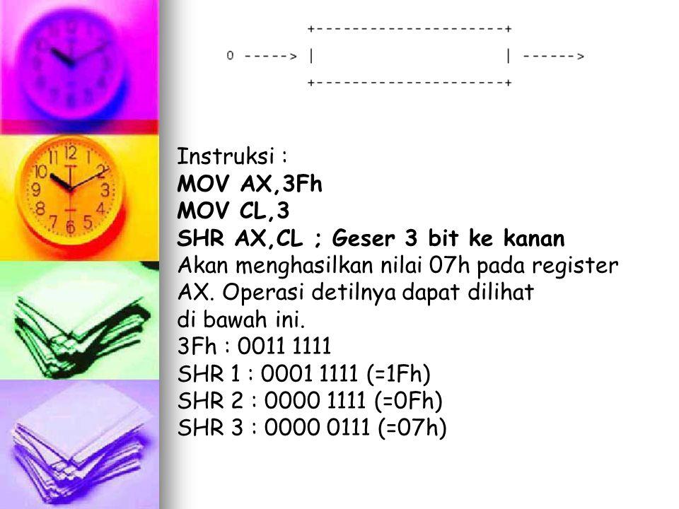 Instruksi : MOV AX,3Fh. MOV CL,3. SHR AX,CL ; Geser 3 bit ke kanan. Akan menghasilkan nilai 07h pada register AX. Operasi detilnya dapat dilihat.