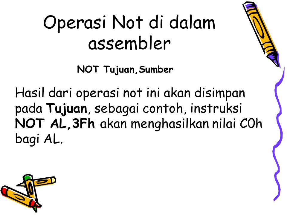 Operasi Not di dalam assembler
