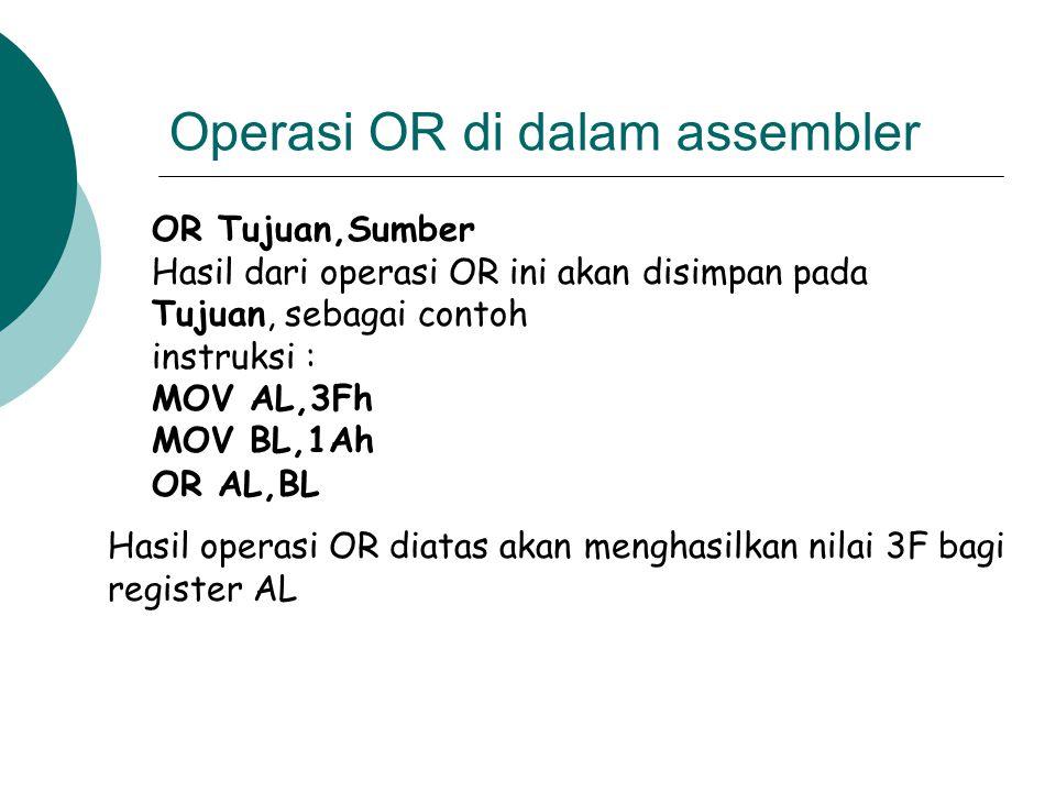 Operasi OR di dalam assembler