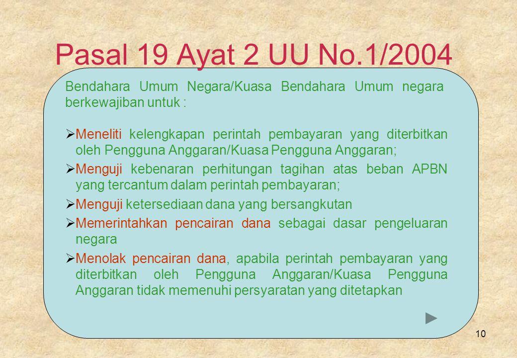 Pasal 19 Ayat 2 UU No.1/2004 Bendahara Umum Negara/Kuasa Bendahara Umum negara berkewajiban untuk :