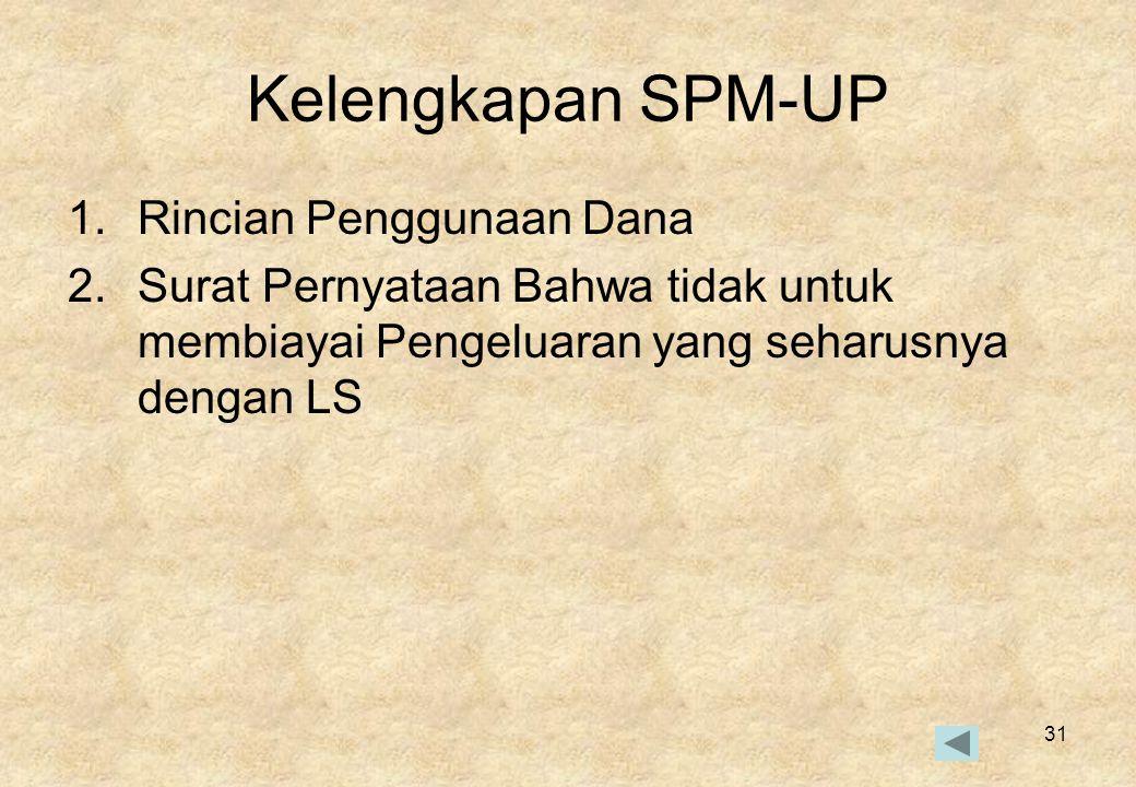 Kelengkapan SPM-UP Rincian Penggunaan Dana