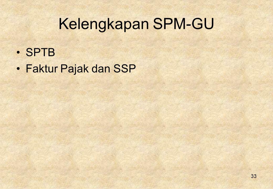 Kelengkapan SPM-GU SPTB Faktur Pajak dan SSP