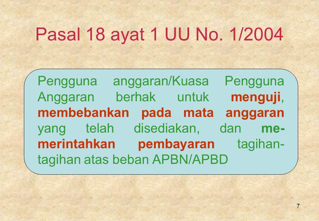 Pasal 18 ayat 1 UU No. 1/2004