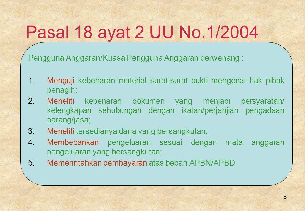 Pasal 18 ayat 2 UU No.1/2004 Pengguna Anggaran/Kuasa Pengguna Anggaran berwenang :