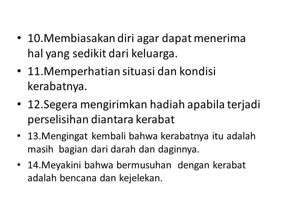 11.Memperhatian situasi dan kondisi kerabatnya.