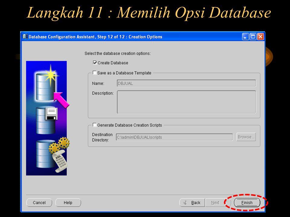 Langkah 11 : Memilih Opsi Database