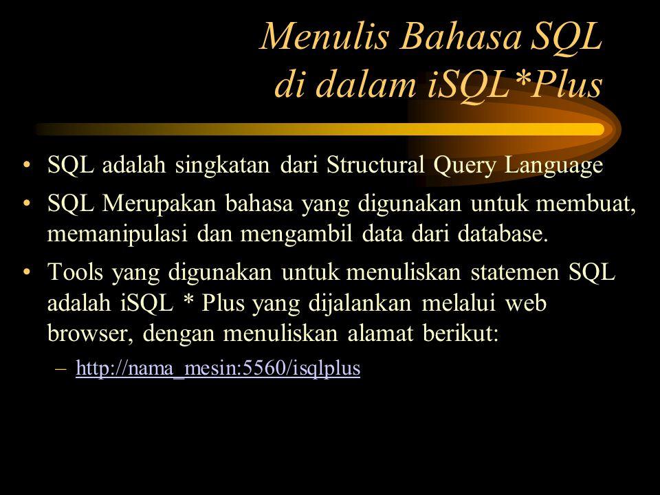 Menulis Bahasa SQL di dalam iSQL*Plus