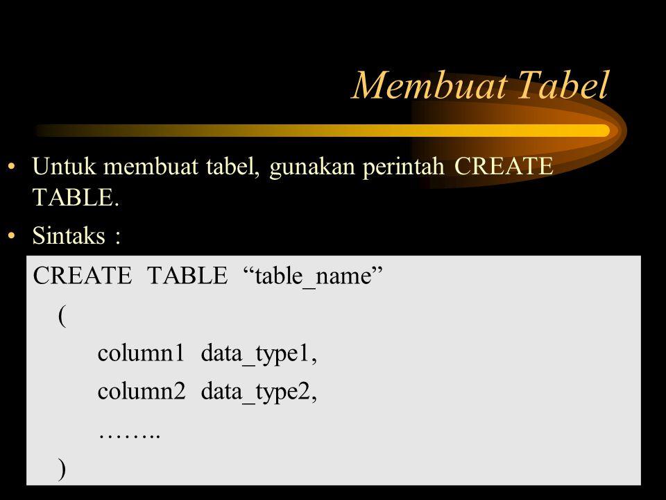 Membuat Tabel Untuk membuat tabel, gunakan perintah CREATE TABLE.