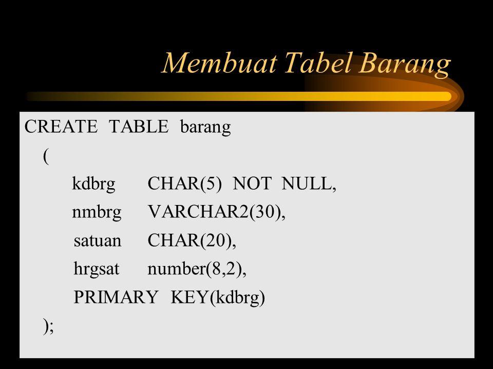 Membuat Tabel Barang CREATE TABLE barang ( kdbrg CHAR(5) NOT NULL,