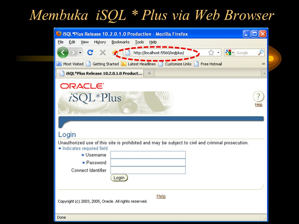 Membuka iSQL * Plus via Web Browser