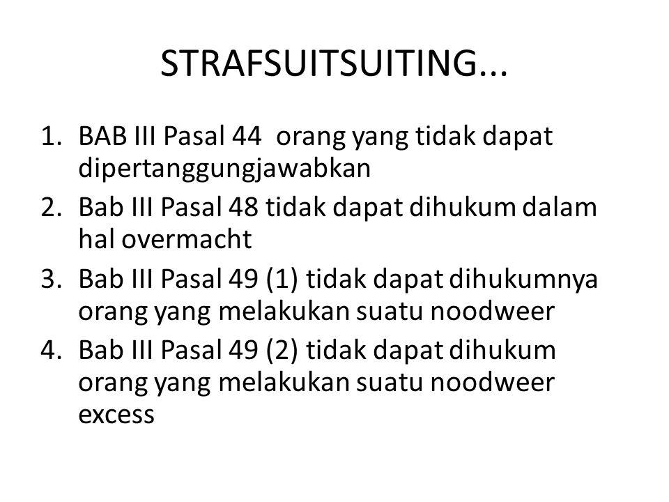 STRAFSUITSUITING... BAB III Pasal 44 orang yang tidak dapat dipertanggungjawabkan. Bab III Pasal 48 tidak dapat dihukum dalam hal overmacht.