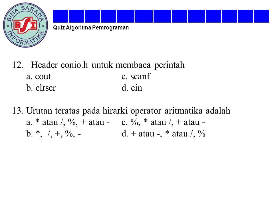 12. Header conio.h untuk membaca perintah a. cout c. scanf