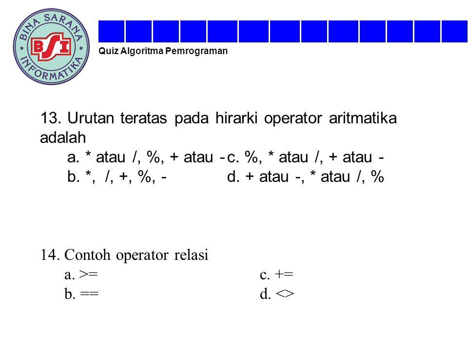 13. Urutan teratas pada hirarki operator aritmatika adalah