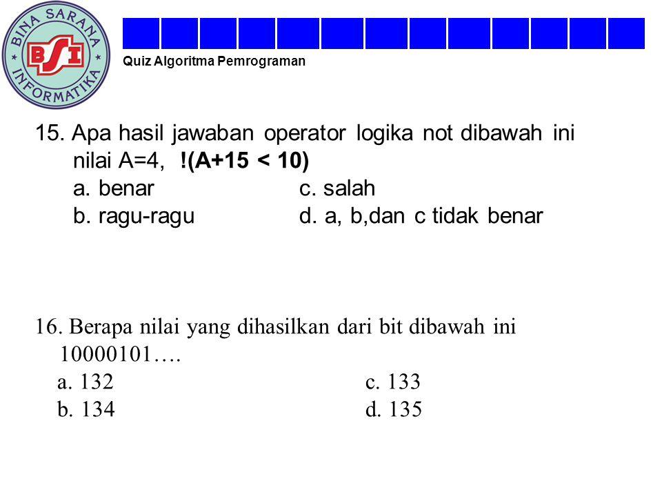 15. Apa hasil jawaban operator logika not dibawah ini