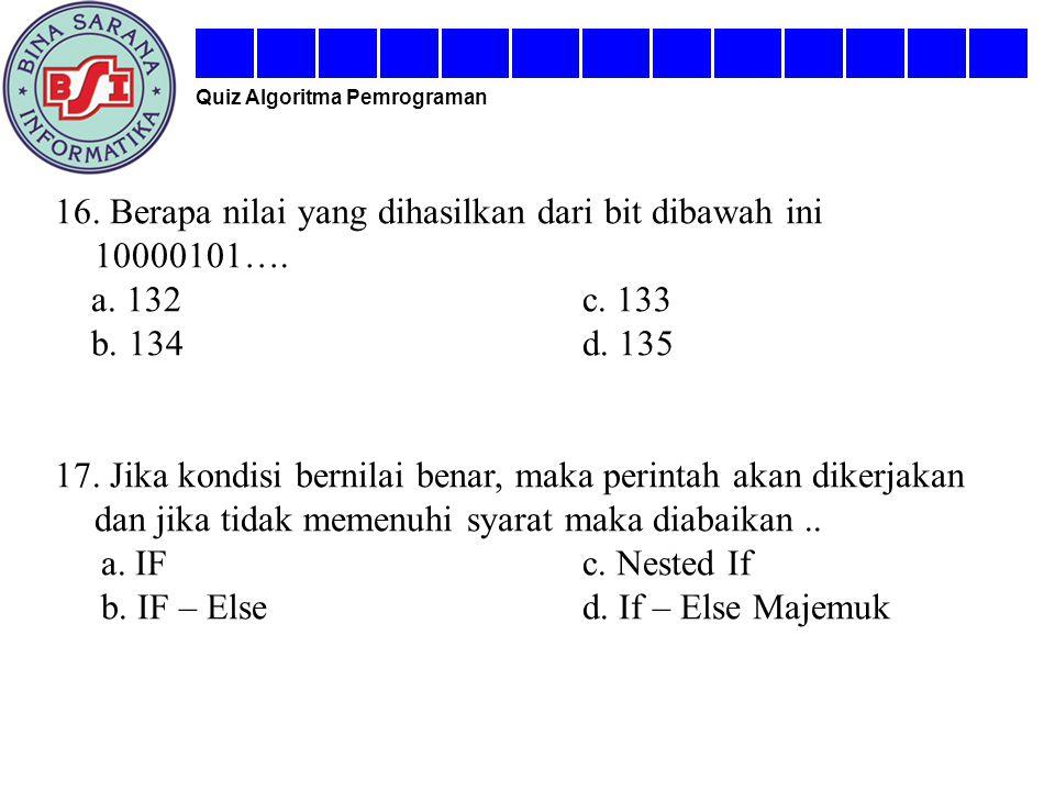 16. Berapa nilai yang dihasilkan dari bit dibawah ini 10000101….