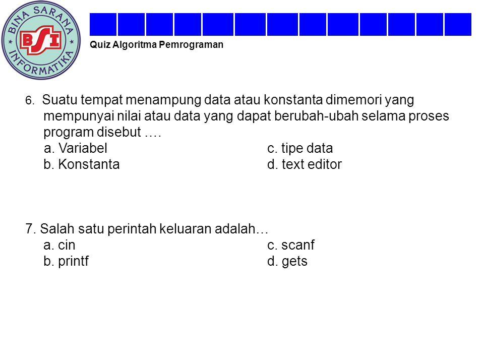 b. Konstanta d. text editor