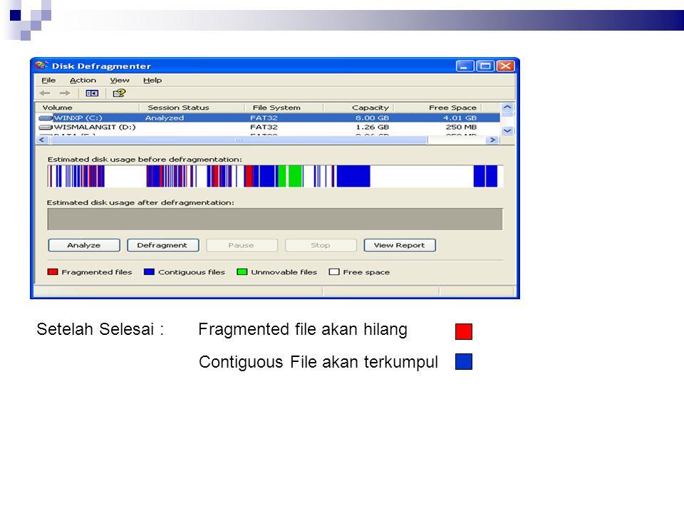 Fragmented file akan hilang