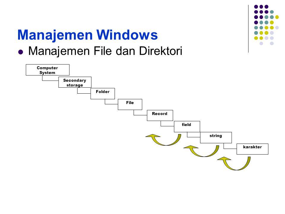 Manajemen Windows Manajemen File dan Direktori 2 Computer System