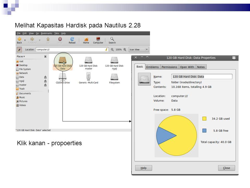Melihat Kapasitas Hardisk pada Nautilus 2.28