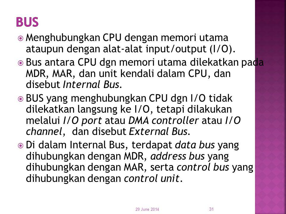 BUS Menghubungkan CPU dengan memori utama ataupun dengan alat-alat input/output (I/O).