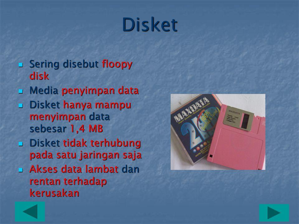 Disket Sering disebut floopy disk Media penyimpan data