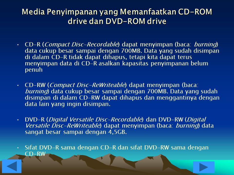 Media Penyimpanan yang Memanfaatkan CD-ROM drive dan DVD-ROM drive