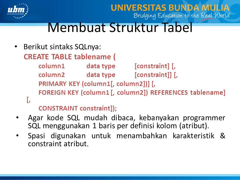 Membuat Struktur Tabel