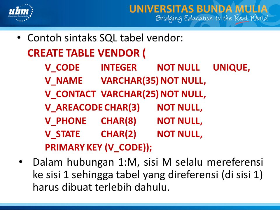 Contoh sintaks SQL tabel vendor: CREATE TABLE VENDOR (