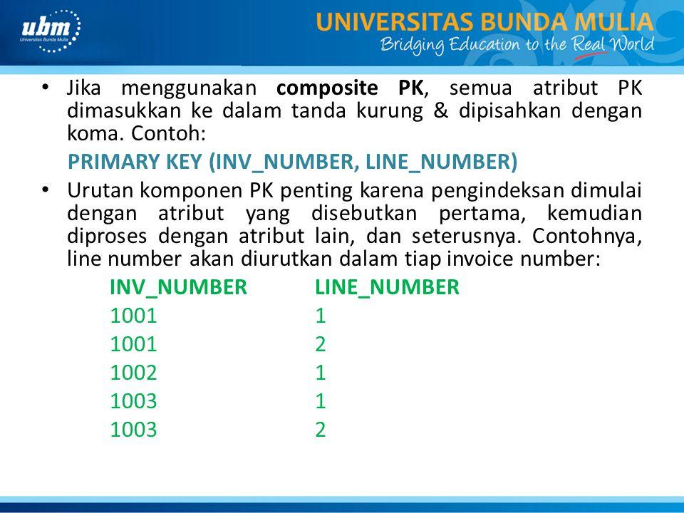 Jika menggunakan composite PK, semua atribut PK dimasukkan ke dalam tanda kurung & dipisahkan dengan koma. Contoh: